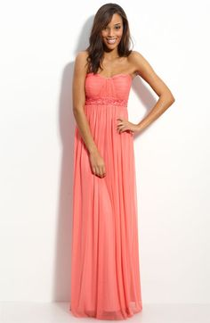 JS Boutique Strapless Beaded Mesh Gown available at #Nordstrom