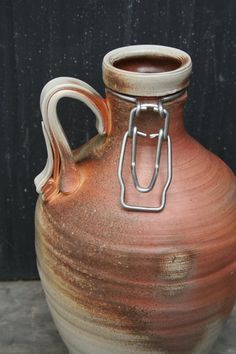 Ceramic Beer Growler Handthrown wood fired 64 by bluewaterpottery