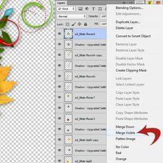 Merge Visible vs Flatten in Photoshop #SnickerdoodleDesigns…