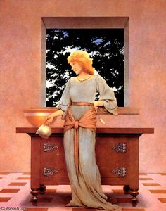 LADY VIOLETTA ABOUT TO MAKE TARTS BY MAXFIELD PARRISH