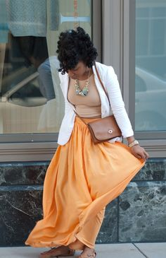 blazer and maxi skirt
