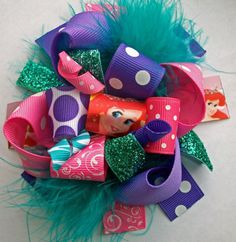 Disney Hair Bow-Funky Loopy Fabulously Fun Ariel Little Mermaid Boutique Hair Bow-Funky Fun-Over The Top Deluxe Hair Bow on Etsy, $9.99