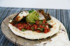 Blackened Grouper Tacos with Salsa, Guacamole and Refried Beans