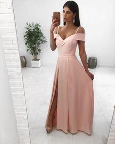 2020 pink Prom Dress, Long Prom Dress, A Line Simple Prom Dress Prom Dresses Long Pink, Simple Prom Dress, Homecoming Dresses, Formal Dresses, Graduation Dresses, Dress Long, Pink Dresses, Dress For You, Ideias Fashion