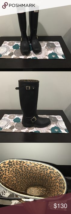 Jimmy Choo & Hunter Rubber Rain Moto Boots Excellent Condition. Wider Than Typical Hunter Boots. These Retail for $395 Jimmy Choo Shoes Winter & Rain Boots