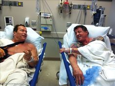 Arnold Schwarzenegger and Sylvester Stallone Get Shoulder Surgery Together [Photo] Humour Fitness, Crossfit Humor, Gym Humour, Workout Humor, Fitness Motivation, Funny Fitness, Exercise Humor, Fitness Memes, Funny Workout