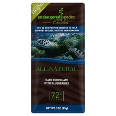 Dark chocolate w/ blueberries. 10% of net profits donated to help endangered species.