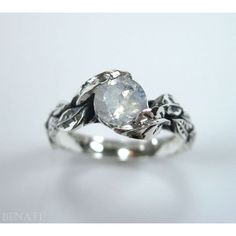 awesome Leaf Ring With Moon Stone Gemstone In Silver, Moonstone Leaf Ring,... (€84) ...