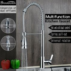 New Design Free Shipping Brass Chrome Pull Up&Down Spring Kitchen Faucet 2 Ways Water Sink Mixer Tap