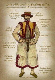 """Tim Finkas  Late 16th Century English Sailor """" One of my drawings (newly re-captioned) from my original costume guide from the late 1980's when I was one of the original founders of the Sea Dogs, at the Renaissance Pleasure Faire South (Agoura)."""""""