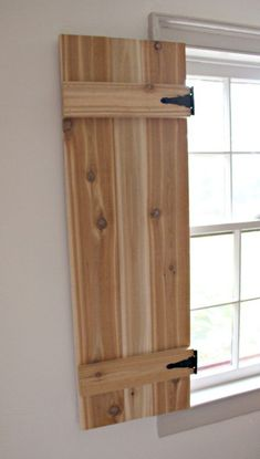 Hello Pretty Handy friends, Jaime from That's My Letter here today to share how to build functional interior cedar shutters using inexpensive AND readily available hardware. I have been itching to bui Diy Interior Shutters, Diy Shutters, Interior Windows, Interior Barn Doors, Indoor Window Shutters, Inside Shutters For Windows, Articles En Bois, Cedar Shutters, Shutter Doors