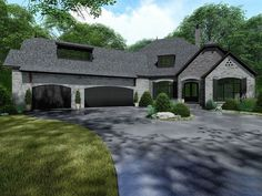 French Country Style House Plan 82534 with 3068 Sq Ft, 4 Bed, 3 Bath, 1 Half Bath European Plan, European Style Homes, European House Plans, Luxury House Plans, Porch House Plans, Bungalow House Plans, Basement House Plans, Craftsman Style House Plans, French Country House Plans