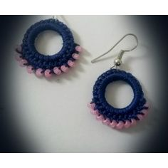 Elegant Royal blue earring with pink beads