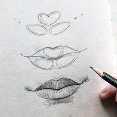 sketch lips step by step \ sketch lips ` sketch lips step by step ` sketch lips mouths ` sketch lips kiss ` sketch lipstick ` sketch lips cartoon ` sketch lips anime ` sketch lips easy Cool Art Drawings, Pencil Art Drawings, Art Drawings Sketches, Realistic Drawings, Art Illustrations, Easy Drawings, How To Draw Realistic, How To Shade Drawings, Pencil Sketching