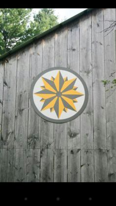 HEX Signs & barn quilts on side of garage, house, or shed? Could be made on a separate piece of wood like this one. Barn Quilt Designs, Barn Quilt Patterns, Quilting Designs, Block Patterns, Wood Patterns, Star Quilts, Quilt Blocks, Scrappy Quilts, Arabesque