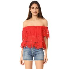 Free People Sweet Dreams Lace Crop Top ($77) ❤ liked on Polyvore featuring tops, bright red, off the shoulder tops, lace balconette bra, short sleeve crop top, lace shelf bra and red off the shoulder top