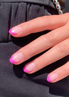 Pink Tip Nails, Almond Nails Pink, Hot Pink Nails, Pink Acrylic Nails, Bright Pink Nails, Nail Pink, Chic Nails, Classy Nails, Stylish Nails