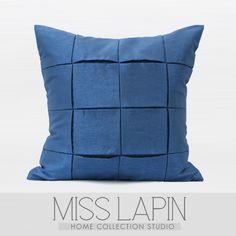 MISS LAPIN 简约现代/沙发床头靠包/夜空蓝金属质感手工方格方枕-淘宝网