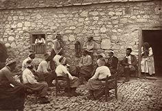 Villagers discussing, Trachipedoulas, Paphos, Cyprus, 1878