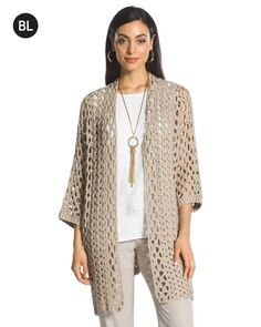 Chico's Women's Black Label Crochet Cardigan, Neutral, Size: