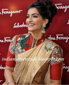 Latest Traditional and Designer Sarees: Sonam kapoor in anamika khanna designer and trendy saree