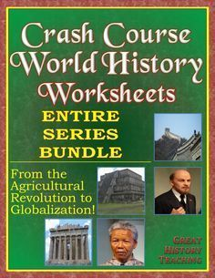 Crash Course World History worksheets for the entire series -- all 42 episodes -- available in one download at a super-low-price! Features a variety of worksheet formats to keep student interest high, as well as answer keys for every episode. All worksheets included in both standard and time-stamped versions to give teachers options. Crash Course worksheets make teachers lives easier even while they keep student engagement high! #crashcourse #crashcourseworldhistory #worldhistory…