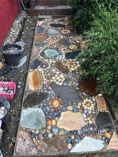 Creating A DIY Stone Mosaic Front Garden Path - - The Mission: Replacing an ugly concrete pathway with a unique and intricate stone mosaic pathway.