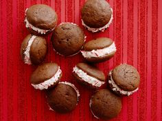 Chocolate Peppermint Whoopie Pies recipe from Katie Lee via Food Network- this recipe not written as gluten free; will substitute flour.