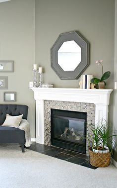 Thrifty Decor Chick: Fireplace in Master Bedroom.  Lovely.   http://www.startrightstarthere.com/BlogPostDetail.aspx?id=2641&blogid=193