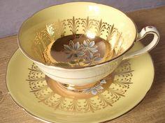 Antique Royal Grafton yellow tea cup set hand by ShoponSherman, $69.00