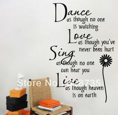 Dance as though no one is watching...vinyl Wall Decal Quote Wall Lettering Art Words Wall Sticker Home Decor Free Shipping $5.33