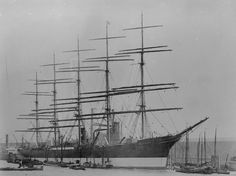 "The ""Preussen"" in harbour, the only five-masted full-rigged ship, built for Laeisz, Hamburg."