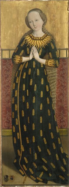 Maria im Ährenkleid 1490. 'Madonna of Ears' is a depicition of Virgin Mary in a dress decorated with golden wheat ears. 'The ear dress' represents the Blessed Virgin as fertile soil and untilled field of God called to bear fruit, symbol for her virginal motherhood of God's Son