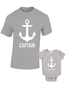 Captain and First Mate T-Shirts or Baby Grow - Matching Father Child Gift Set (2 shirts) - Father's Day Present Mum Son Daughter Dad Sailor by BlueIvoryLane on Etsy https://www.etsy.com/listing/199881939/captain-and-first-mate-t-shirts-or-baby