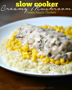 This slow cooker creamy mushroom fiesta ranch chicken recipe from The Best Blog Recipes is so easy to make an is such a delicious dinner! Your family is sure to love it!