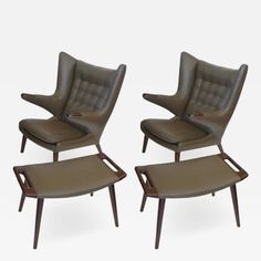 Hans Wegner Pair Early Original Hans Wegner Papa Bear Chairs w Ottomans in Taupe…