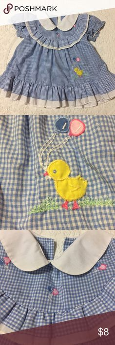 Vintage Gingham Baby Dress Adorable!  Cute Peter Pan collar. Duck and balloons are appliqué. Missing 2 buttons in the back and the elastic in the arms has lost some elasticity. Tag says 24 months but looks a little small. I would say this is 18 months. Vintage Dresses Casual