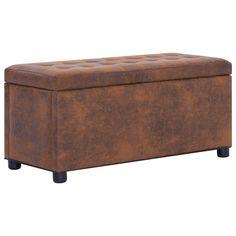 vidaXL Opberghocker 87,5 cm kunstsuède bruin Banquette Design, Bench, Storage, Furniture, Home Decor, Products, Jewelry, Shoe Dresser, Storage Ideas