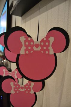 hanging minnie mouse decorations by MrsCustomCreations on Etsy https://www.etsy.com/listing/217516503/hanging-minnie-mouse-decorations
