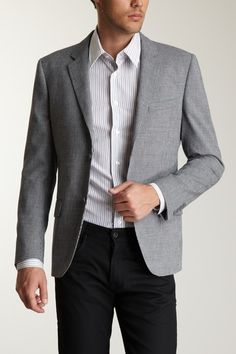 Calvin Klein Solid Two Button Jacket in Light Grey Gray