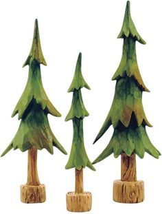 Blossom Bucket Miniature Resin Pine Trees Set of 3 Figurines Lodge Decor Wood Carving Designs, Wood Carving Patterns, Wooden Christmas Crafts, Christmas Ornaments, Dremel Wood Carving, Tree Carving, Lodge Decor, Wood Ornaments, Pine Tree
