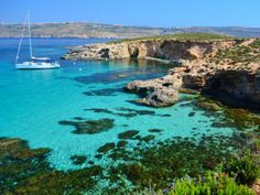 The beautiful Azure waters of the island of Malta.