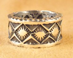 Navajo Sterling Silver Double Sided Heavy Gauge Band Ring Handmade Andy Cadman