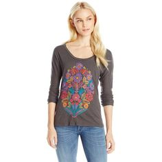 Lucky Brand Women's Pop Bouquet Tee ($50) ❤ liked on Polyvore featuring tops, t-shirts, lucky brand tops, embroidered t shirts, long sleeve tee, longsleeve t shirts and embroidered top