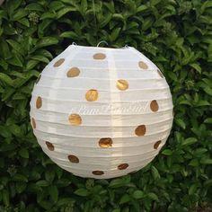 PAPER LANTERN / 1 paper lantern with gold polka by 1PomPomGirl