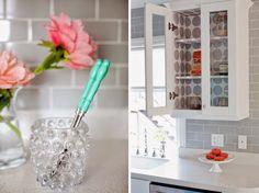 Love grey backsplash tiles in a white kitchen!