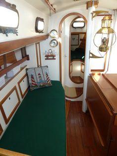 Show me your sailboat's interior - Page 14 - SailNet Community Sailboat Interior, Yacht Interior, Interior Design, Wooden Sailboat, Wooden Boats, Sailboat Restoration, Tiny Loft, Small Yachts, Sailboat Living