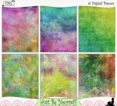 """Wild Color Instant Download Printable Art Journal Papers by JustBYourself. (Layers and layers of digitally painted hues of pink, purple, yellow, orange, green and blue are featured on these printable art journal papers. Perfect for scrapbooking, and smash and stash books too! Instant download collection of 6 - 8.5"""" x 11"""" papers.  (1145) $2.75"""