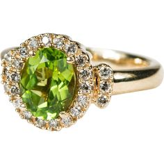 Fabulous 2.72ctw Peridot Diamond Ring  ~  This stunning peridot has a perfect color and an excellent cut with a glowing brilliance!  The peridot