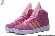 Buy Cheap Adidas X Jeremy Scott Big Tongue Anti Fur Winter Shoes Pink Casual shoes Store